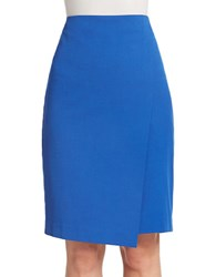 Lord And Taylor Plus Solid Wrap Pencil Skirt Olympic Blue