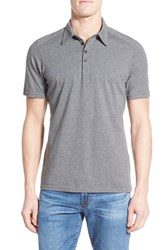 Men's Nau 'Genus' Stripe Jersey Pocket Polo Charcoal Heather