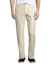 Ag Adriano Goldschmied The Wanderer Slim Fit Linen Blend Trousers Sulfur Pale Sand