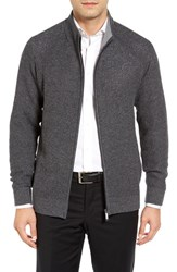 Toscano Men's Mock Neck Zip Cardigan