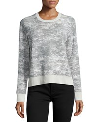 Jason Wu Long Sleeve Abstract Striped Pullover Chalk Charcoal Women's Size L Chalk Grey