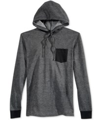 American Rag Men's Homebased Colorblocked Long Sleeve Hoodie T Shirt Only At Macy's Deep Black