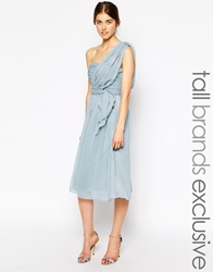 True Decadence Tall One Shoulder Soft Midi Prom Dress Softblue