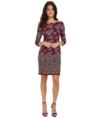 Maggy London Feather Leaf Paisley Printed Ponte Sheath With Elbow Sleeve Wine Clay Women's Dress Red