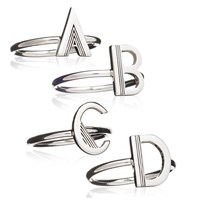 Rachel Jackson London Art Deco Initial Ring Silver