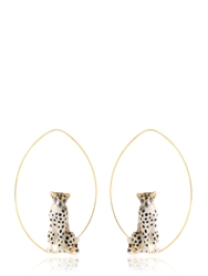 Nach Cheetah Hoop Earrings Gold Brown