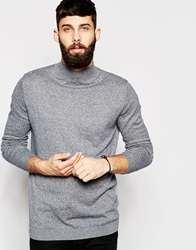 Asos Turtleneck Jumper In Cotton Bluebeigetwist