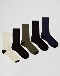 Asos Socks With Black Heel And Toe 5 Pack Multi