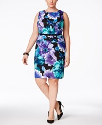 Connected Plus Size Sleeveless Belted Sheath Dress Med Purple