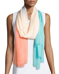 Neiman Marcus Ombre Eyelash Fringe Scarf Peach Surf Pink Blue