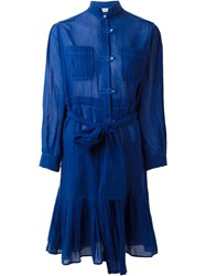 Yves Saint Laurent Vintage Belted Shirt Dress Blue