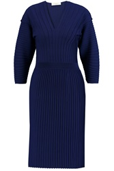 Pringle Pintucked Merino Wool Dress Blue