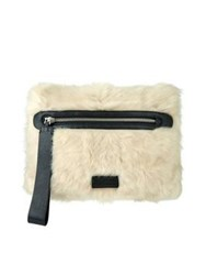 Marc By Marc Jacobs Canteen Fur Clutch Cream