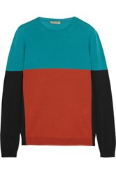 Bottega Veneta Color Block Merino Wool Sweater Teal