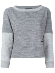 Dsquared2 Contrast Sleeve Marled Sweater Grey