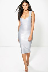 Boohoo Metallic Detail Bandage Midi Dress Grey