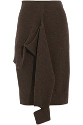 Joseph Tie Front Wool Skirt Dark Brown