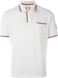 Moncler Gamme Bleu Striped Trim Polo Shirt White