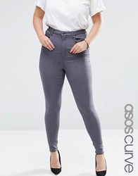 Asos Curve High Waisted Sculpt Me Jean In Walnut Grey Grey
