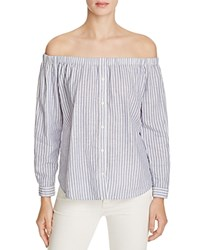 Birds Of Paradis Off The Shoulder Stripe Shirt 100 Bloomingdale's Exclusive Blue White Stripe