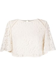 Martha Medeiros 'Marescot' Lace Crop Blouse White