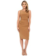 Norma Kamali Shirred Dress Below Knee Camel Women's Dress Tan