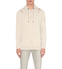 Criminal Damage Shoreditch Distressed Cotton Jersey Hoody Nude