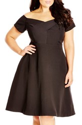 Plus Size Women's City Chic 'Dancer' Dot Print Off The Shoulder Fit And Flare Dress