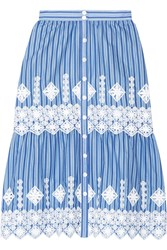 Miguelina Carolina Crochet Trimmed Striped Cotton Skirt Light Blue