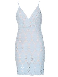 Izabel London Sundress With Crochet Lace Overlay Blue