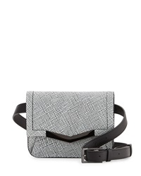 Time's Arrow Grid Leather Belt Bag White