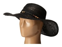 Lauren Ralph Lauren Paper Straw Open Weave Tassel Beach Hat Black Traditional Hats