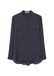 Mango Pockets Flowy Shirt Navy