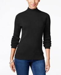 Karen Scott Petite Mock Turtleneck Sweater Only At Macy's Deep Black