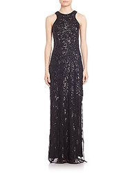 Laundry By Shelli Segal Platinum Sequined Column Gown Black