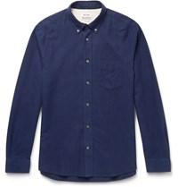 Acne Studios Isherwood Button Down Collar Cotton Flannel Shirt Blue