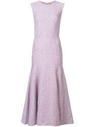 Monique Lhuillier Micro Check Pattern Dress Pink And Purple