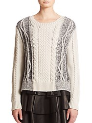 Derek Lam Two Tone Cable Knit Wool Sweater Cream Multi
