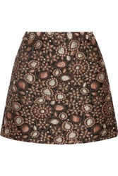 Alice Olivia Jessa Metallic Brocade Mini Skirt Gold