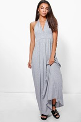 Boohoo Lailah Rouched Waist Racer Back Maxi Dress Grey Marl