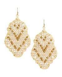 Nakamol Wire Wrapped Crystal Pendant Earrings Cream Gold