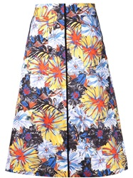 Suno Painted Flower Print Skirt Multicolour
