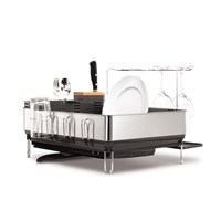Simplehuman Brushed Steel And Grey Dish Rack Wine Glass Holder