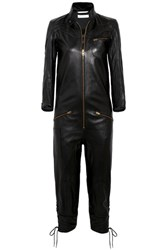 Chloe Lace Up Leather Jumpsuit Black