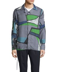 Berluti Colorblock Abstract Print Woven Shirt Dark Gray