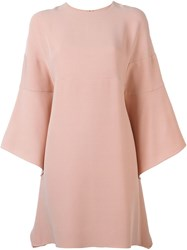 Valentino Flared Sleeve Dress Pink And Purple