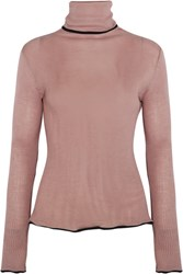 Keji Ruffled Ribbed Wool And Silk Blend Turtleneck Sweater Pastel Pink