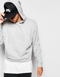 Asos Oversized Cropped Hoodie In Grey Greymarl