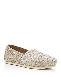 Toms Seasonal Classic Glitter Crochet Slip On Flats Rose Gold