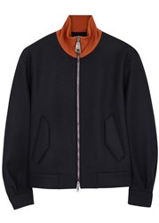 Wooyoungmi Navy Ribbed Collar Wool Blend Jacket